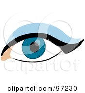 Royalty Free RF Clipart Illustration Of A Womans Dark Blue Eye With Eyeliner And Eyeshadow