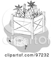 Royalty Free RF Clipart Illustration Of A Grayscale Garden Hose And Flowers In A Planter Box