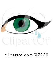 Green Crying Eye With Thick Eyeliner