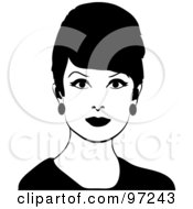 Royalty Free RF Clipart Illustration Of A 60s Styled Black And White Retro Woman With Beehive Hair