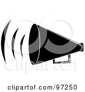 Royalty Free RF Clipart Illustration Of A Loud Black Megaphone With Sound Waves