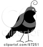 Royalty Free RF Clipart Illustration Of A Profile Of A Silhouetted Partridge by Pams Clipart