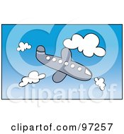 Royalty Free RF Clipart Illustration Of A Cartoon Airplane Descending Through A Cloudy Blue Sky