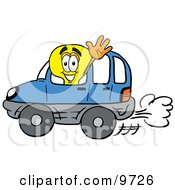 Clipart Picture Of A Light Bulb Mascot Cartoon Character Driving A Blue Car And Waving