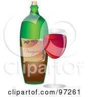 Royalty Free RF Clipart Illustration Of A Green Wine Bottle And Glass Of Red Wine by Pams Clipart