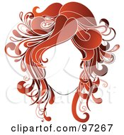 Royalty Free RF Clipart Illustration Of A Faceless Woman With Red Wavy Hair