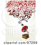 Royalty Free RF Clipart Illustration Of An Antique Phonograph With Red Swirly Vines