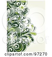 Royalty Free RF Clipart Illustration Of A Lush Green Vine On The Left Edge Of An Off White Background