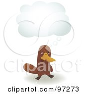 Platypus Standing Under A Thought Cloud