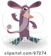 Purple Alien Platypus Standing And Waving