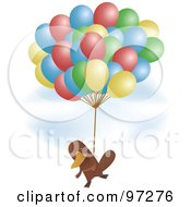 Platypus Flying In A Sky With A Bunch Of Balloons