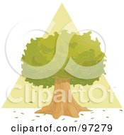 Royalty Free RF Clipart Illustration Of A Lush Green And Mature Tree In Front Of A Triangle by PlatyPlus Art
