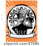 Royalty Free RF Clipart Illustration Of A Steampunk Man Holding A Gun Over A Blank Banner And Gear Oval On An Orange Ray Background by mheld