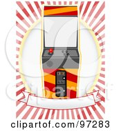 Royalty Free RF Clipart Illustration Of An Arcade Machine On A Blank Banner And Oval Over Red And White Rays by mheld