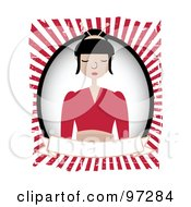 Pretty Geisha Over A Blank Banner And Oval On A Red Ray Background