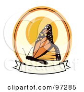 Royalty Free RF Clipart Illustration Of A Monarch Butterfly Over A Grungy Blank Banner And Sun Circle by mheld