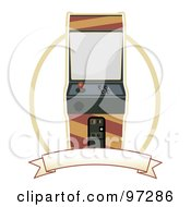 Royalty Free RF Clipart Illustration Of An Arcade Machine Over A Blank Banner And Oval by mheld
