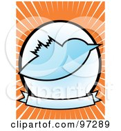 Blue Bird Over A Blank Banner And Circle On An Orange Ray Background