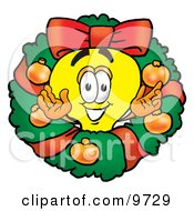 Light Bulb Mascot Cartoon Character In The Center Of A Christmas Wreath