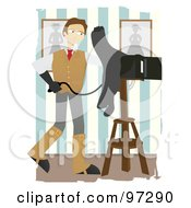 Royalty Free RF Clipart Illustration Of A Handsome Male Photographer Using A Box Camera In A Studio