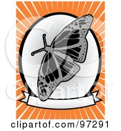 Royalty Free RF Clipart Illustration Of A Gray Butterfly Over A Grungy Blank Banner And Circle On An Orange Ray Background by mheld
