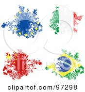 Royalty Free RF Clipart Illustration Of A Digital Collage Of Grungy Torn Brazil China Italy And European Union Flag Pieces