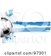 Royalty Free RF Clipart Illustration Of A Soccer Ball Over A Grungy Halftone Scottish Flag by elaineitalia