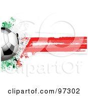 Royalty Free RF Clipart Illustration Of A Soccer Ball Over A Grungy Halftone Italian Flag by elaineitalia