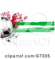Royalty Free RF Clipart Illustration Of A Soccer Ball Over A Grungy Halftone Welsh Flag by elaineitalia