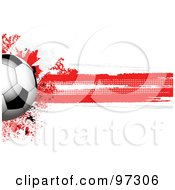 Royalty Free RF Clipart Illustration Of A Soccer Ball Over A Grungy Halftone Canadian Flag by elaineitalia