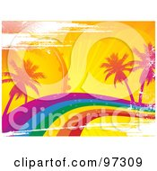 Royalty Free RF Clipart Illustration Of A Grungy Rainbow Wave With Tropical Palm Trees