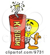 Clipart Picture Of A Light Bulb Mascot Cartoon Character Standing With A Lit Stick Of Dynamite by Toons4Biz