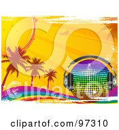 Royalty Free RF Clipart Illustration Of A Rainbow Disco Ball With Headphones On A Grungy Rainbow With Palm Trees Sunshine And An Airplane by elaineitalia
