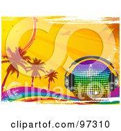Royalty Free RF Clipart Illustration Of A Rainbow Disco Ball With Headphones On A Grungy Rainbow With Palm Trees Sunshine And An Airplane by elaineitalia