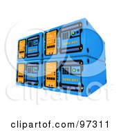 Royalty Free RF Clipart Illustration Of Four Stacked Blue 3d Server Towers