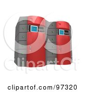Royalty Free RF Clipart Illustration Of Two 3d Red Server Racks
