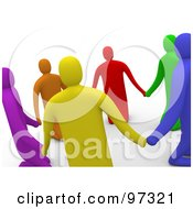 3d Colorful People Praying And Holding Hands In A Circle