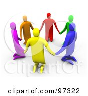 3d Colorful People Kneeling And Holding Hands In A Circle
