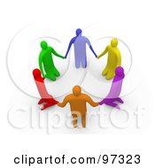 Royalty Free RF Clipart Illustration Of 3d Colorful People On Their Knees In A Circle