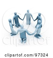 3d Blue People Kneeling And Holding Hands In A Circle