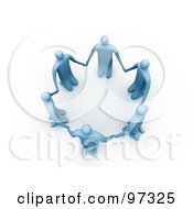 3d Blue People On Their Knees In A Circle