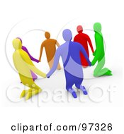 3d Diverse People Kneeling And Holding Hands In A Circle