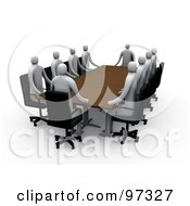 Team Of 3d Professional People Surrounding A Rectangular Meeting Table
