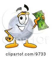Clipart Picture Of A Moon Mascot Cartoon Character Holding A Dollar Bill by Toons4Biz