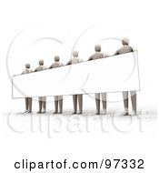 Royalty Free RF Clipart Illustration Of 3d Beige People Standing And Holding Up A Long Rectangular Blank Sign by 3poD