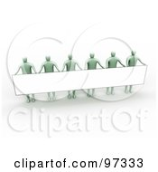 Royalty Free RF Clipart Illustration Of 3d Green People Standing And Holding Up A Long Rectangular Blank Sign by 3poD