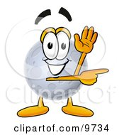 Clipart Picture Of A Moon Mascot Cartoon Character Waving And Pointing by Toons4Biz