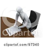 Royalty Free RF Clipart Illustration Of A 3d Businessman Leaning Over A Table To Sign A Contract