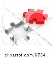 Royalty Free RF Clipart Illustration Of A 3d Red Solution Puzzle Piece On Top Of A White Puzzle With An Open Space by 3poD