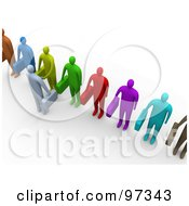 Royalty Free RF Clipart Illustration Of An Aerial View Of A 3d Business Man Facing A Line Of Job Applicants Or Employees And Shaking Their Hands by 3poD